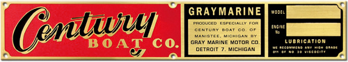 century boat company graymarine gray marine boat model engine number plate brass