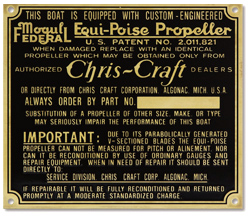 Chris craft equi-poise propeller data plate brass