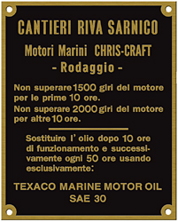 chris craft rodaggio cantieri riva sarnico brass plate