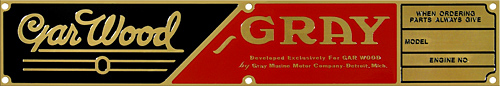 gar wood garwood graymarine gray marine boat model engine number plate brass
