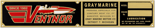 ventnor graymarine boat model engine number plate brass