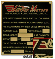 Ventnor motors data serial number plate brass