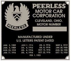 peerless motor car motor number plate aluminum